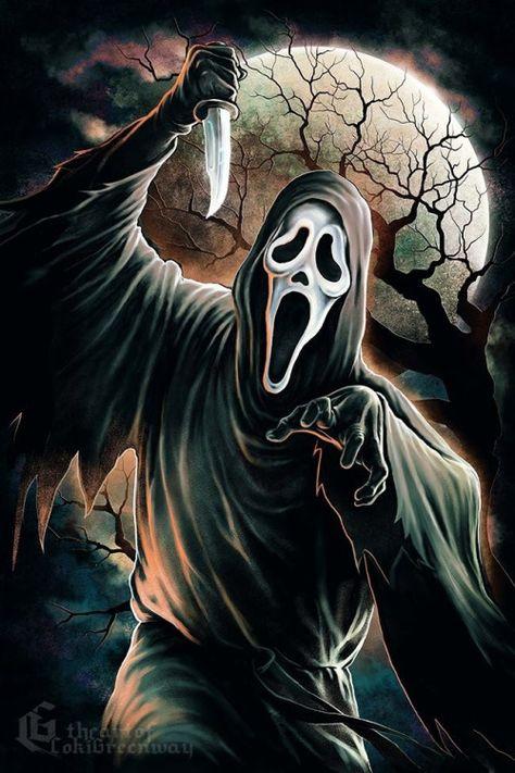 "Horror Movie Art : Scream 1996 ""Ghostface"" by Coki Greenway Michael Myers, Freddy Krueger, Der Joker, Scary Wallpaper, The Killers, Scream Movie, Scream 3, Horror Artwork, Horror Movie Characters"