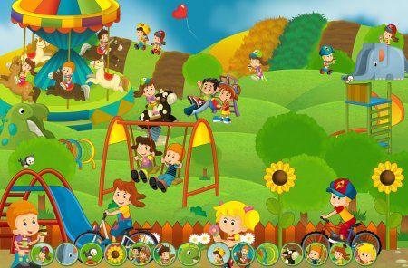 Escena De Dibujos Animados De Ninos Jugando En El Parque De Atracciones Juego Kids Playing Children Illustration Cartoon