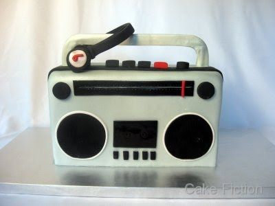 Cake Fiction: Boombox birthday cake with Monster Headphones