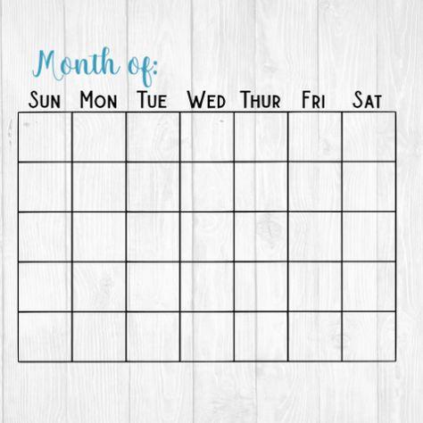 Blank Month Calendar Template - Printable - SVG Cut File - PDF Www