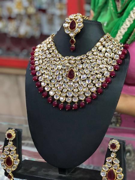 Designer High Quality Gold Plated Kundan Studded Tear Drop Design Bridal Choker Necklace Set /& Adjustable Dhori Traditional Indian Jewelry
