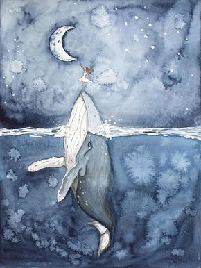 WHALE GIRL RIDER WALL ART This painting is of a girl in a white dress reaching for the moon with a help of a humpback whale. Dreamy and peaceful artwork made for girls rooms or nurseries but it can easily bring magical vibrance to a living room too. This painting can be customised
