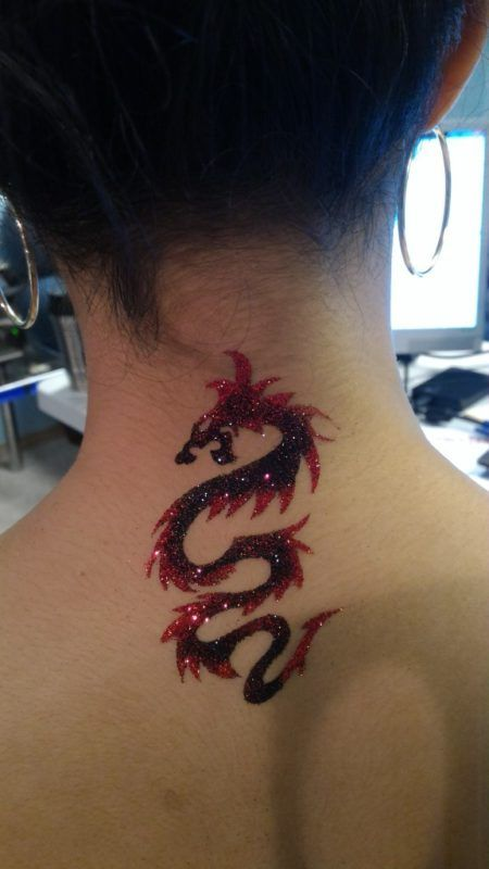 Sweet Red Dragon Neck Tattoo Neck Tattoo Watercolor Dragon Tattoo Tattoos