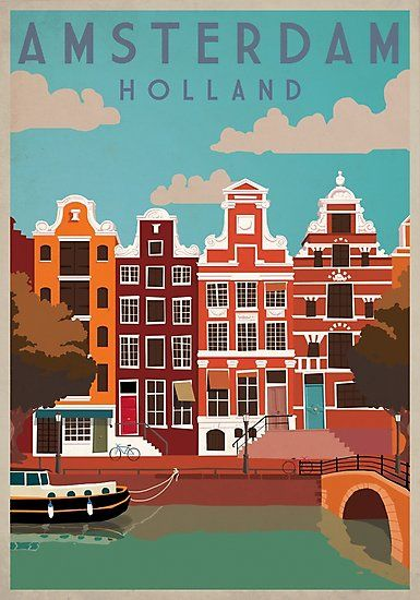 Amsterdam Holland Travel Poster Photographic Print By Bokeelee Retro Travel Poster Travel Advertising Vintage Travel Posters