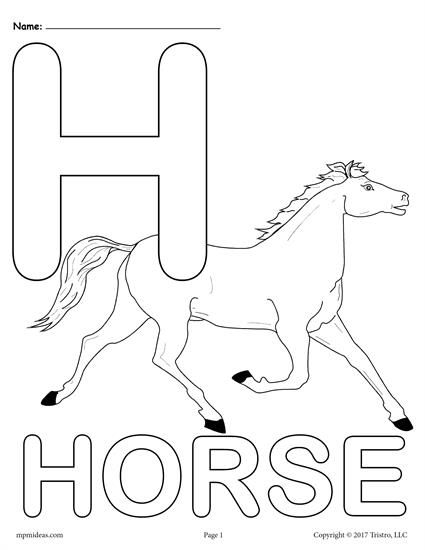 Letter H Alphabet Coloring Pages 3 Printable Versions Alphabet Coloring Alphabet Coloring Pages Horse Coloring Pages