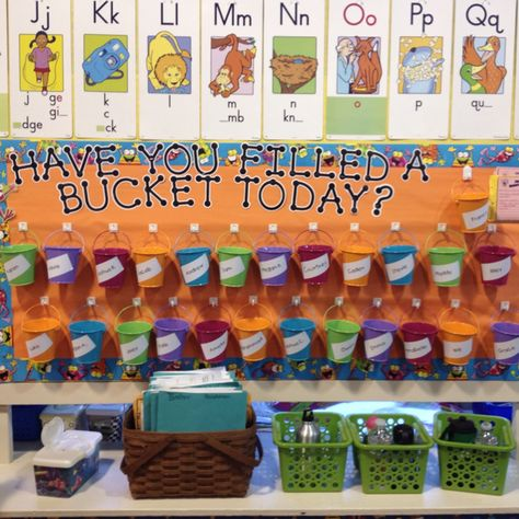 """Awesome bulletin board my teacher had me put up! Goes along with the book """"Have You Filled a Bucket Today"""" by Carol McCloud! Motivation for kids to be nice and helpful to others :)"""