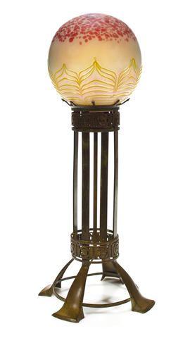 Art Nouveau Loetz Glass Table Lamp A