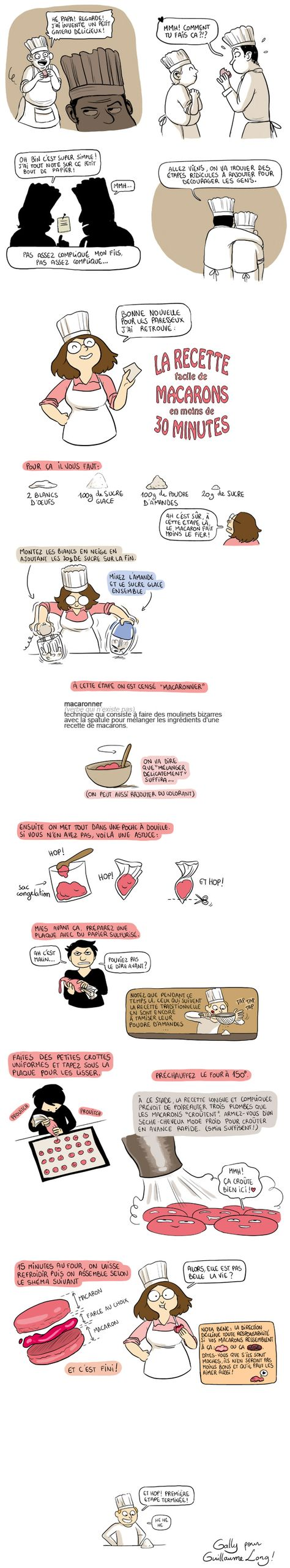 """Macarons sans la durée"" recette de macarons facile selon Gally pour Guillaume Long, illustrateur français. http://long.blog.lemonde.fr/2012/03/20/macarons-sans-la-duree/"