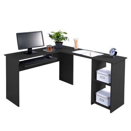 Fineboard L Shaped Office Corner Desk 2 Side Shelves Black