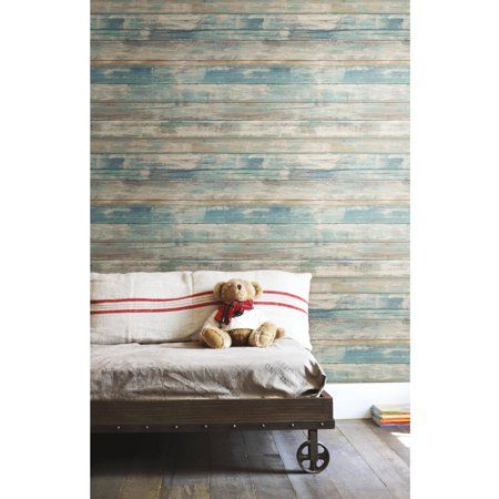 Roommates Blue Distressed Wood Peel And Stick Wall Decor Wallpaper Walmart Com Distressed Wood Wallpaper Stick On Wood Wall How To Distress Wood