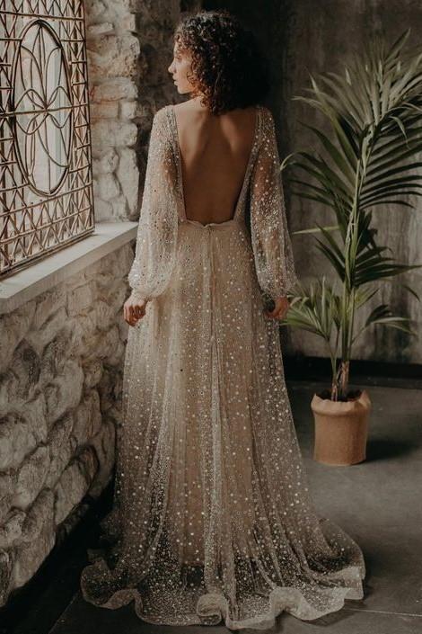V Neckline Sequin Wedding Dresses Loose Long Sleeves In 2020 Wedding Dress Sequin Online Wedding Dress Wedding Dresses