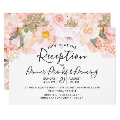 Peach Amp Mint Succulents Floral Wedding Reception Card Script Gifts Template Templat Wedding Reception Cards Themed Wedding Invitations Summer Wedding Diy