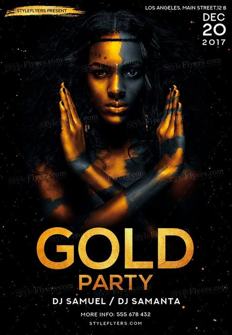 Gold Party PSD Flyer Template #21349