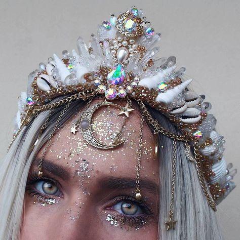Etsy ❇ . . . #stars #moons #galaxy #starynights #crystalcrown #tiara #crystaltiara #seashellcrown #mermaidcrown #eclipse #love #etsy