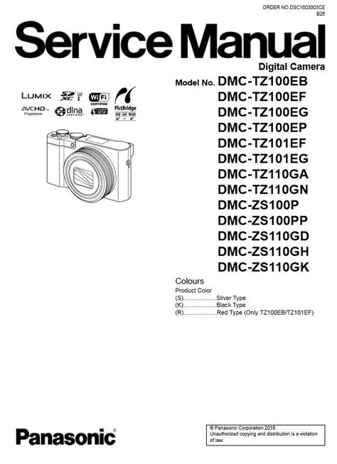 Panasonic Lumix DMC TZ100 TZ101 TZ110 ZS100 ZS110 Service