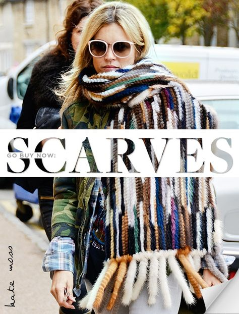 Kate Moss in statement scarf - Celebrity Accessories Watch - Kate Moss Pictures