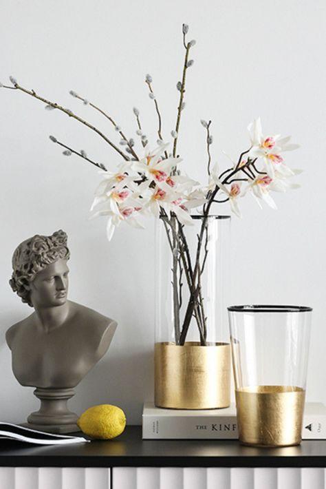 Golden Foil Glass Flower Vase In 2020 Glass Flower Vases Glass Vase Decor Flower Vases