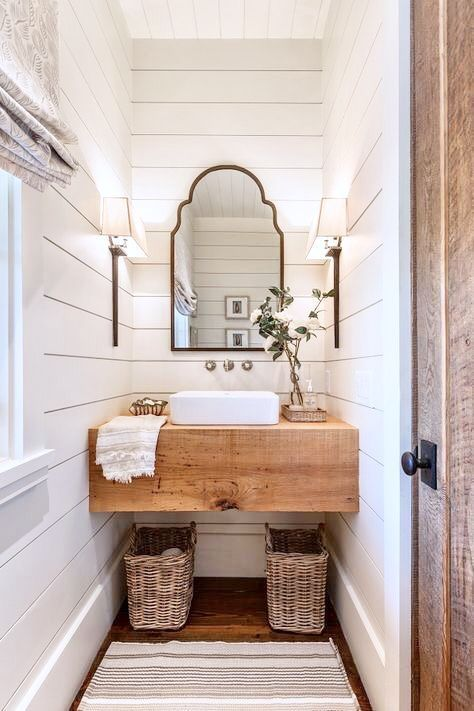 Half Bath With Shiplap Farmhouse Bathroom Decor Modern Farmhouse Bathroom Bathrooms Remodel
