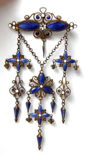 ANTIQUE FRENCH BLUE ENAMEL LONG CHANDELIER RARE BROOCH Circa 1850