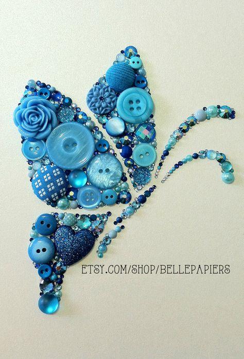 Button Art & Swarovski Crystal Butterfly