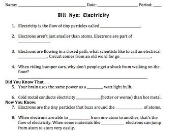 Bill Nye Electricity Video Worksheet With Images Bill Nye