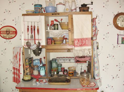 A Hoosier loaded with Vintage Kitchen Stuff