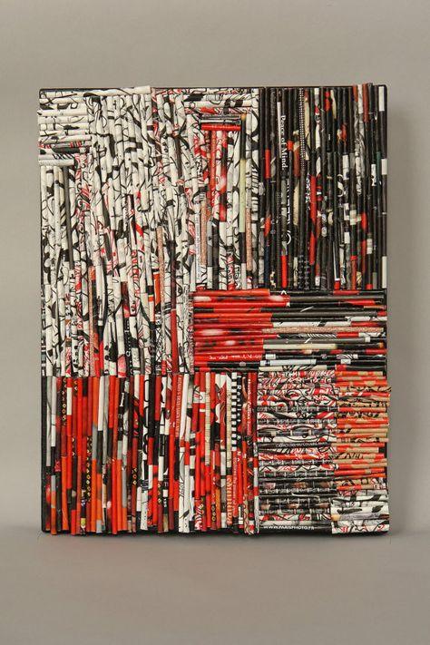 Zen Matrix collage on canvas by MimiBoutique on Etsy Rolled Magazine Art, Magazine Collage, Recycled Magazines, Recycled Art, Rolled Paper Art, Paper Wall Art, Magazine Crafts, Green Art, Fabric Art