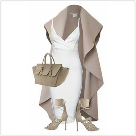 CHATA'S DAILY TIP: We love this fresh combination of nude and white for spring. This shaped strappy dress is complemented with this beautiful soft waterfall jacket; fabulous for all body shapes. On-trend gladiator sandals take this outfit from classic to fashionable. COPY CREDIT: Chata Romano Image Consultant, Karyn Lindes http://chataromano.com/consultant/karyn-lindes/ IMAGE CREDIT: Pinterest #chataromano #imageconsultant #colour #style #fashion
