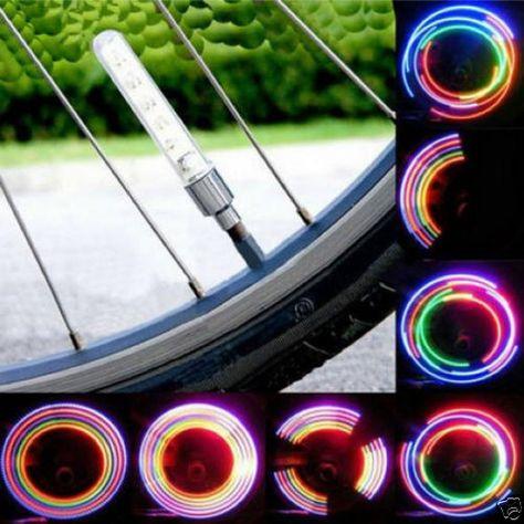 2 x Bike Bicycle Wheel Tire Valve Cap Spoke Neon 5 LED Lights Lamp 32 changes   eBay