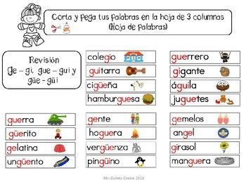 Sílabas Ge Gi Gue Gui Güe Güi Centros Literarios Literacy Centers Gue Gui Letter Activities Learning Spanish Learning Activities