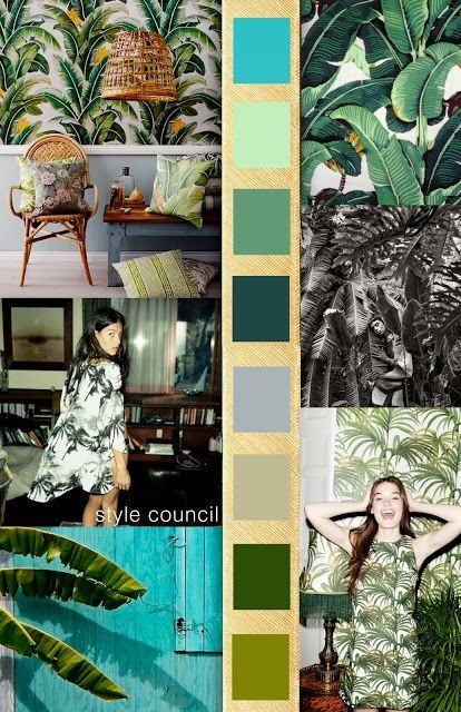 SS 2016 trend: Natural green palm prints, graphic black and white leaf patterns as well as blue and white exotic foliage help bring the Tiki Bar to the city streets.