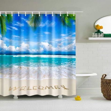 Welcome Beach Fabric Shower Curtain Beach Shower Curtains