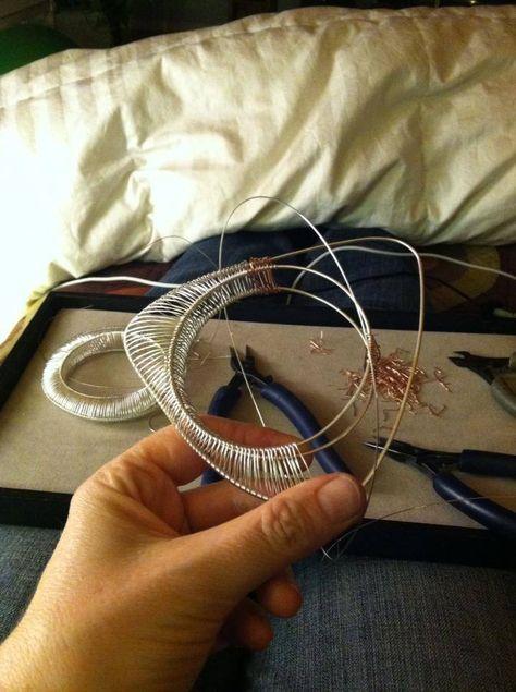 Kathy Frey sculptural wire jewelry Triangle Bracelet