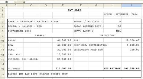Looking for mis report format in excel for accounts, finance - pay in slip format in excel