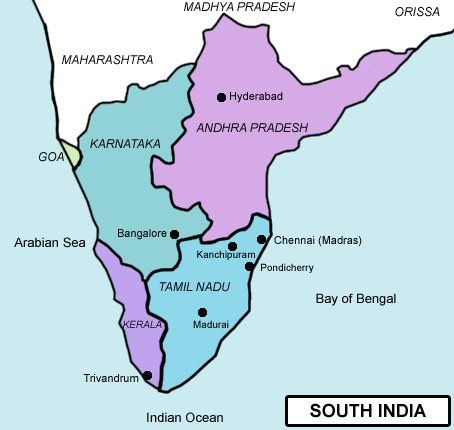 Image result for south India map