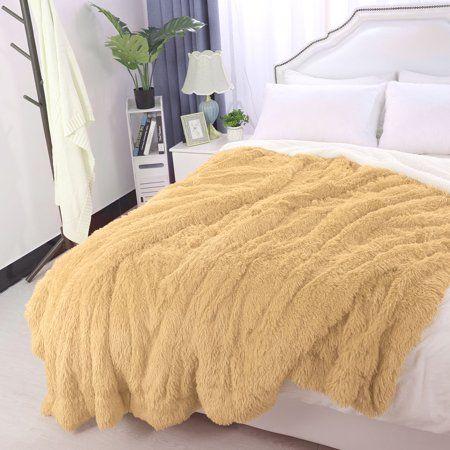 Unique Bargains Shaggy Faux Fur Soft Fiber Bed Blanket Queen 79