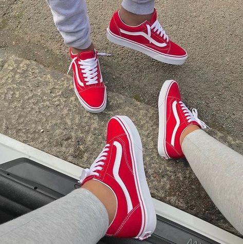 Red vans | sk8 hi #sneakers | vans sneakers | sneaker inspiration | red lace up sneakers