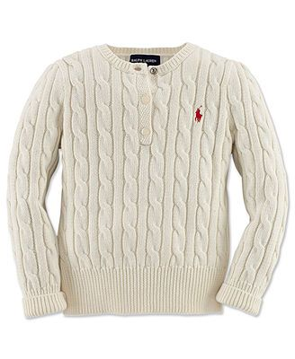 c722034a3 Ralph Lauren Kids Sweater, Little Girls Classic Cable Henley | For ...