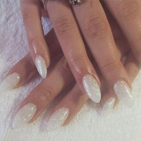 Are You Looking For Short And Long Almond Shape Acrylic Nail Designs See Our Collection Full Of S White Glitter Nails Acrylic Nail Designs White Sparkle Nails