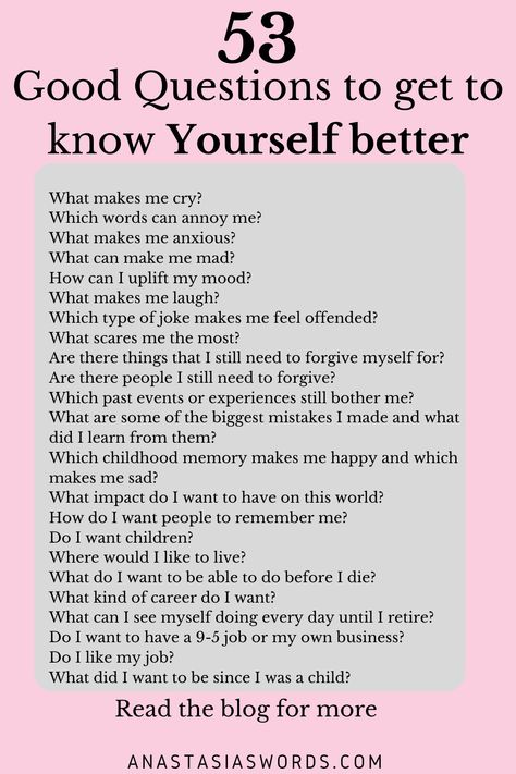 In this blog, I want to help you to get to know yourself better, with 53 questions you can ask yourself. For the past few months, I have been trying to get to know myself better. I realized that I hadn't been doing that enough and that knowing myself better can improve my life in so many different ways. #selfdiscovery #knowyourselfbetter #questionshowtoknowyourselfbetter