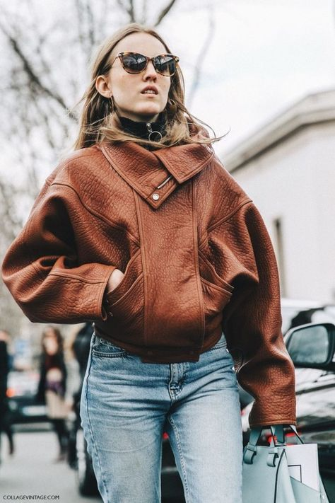 Stylish Brown Leather Jacket Outfits Ideas To Makes You Look Fashionable15