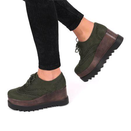 Oxfordki Na Koturnie Quennsie Zielone All Black Sneakers Shoes Sneakers
