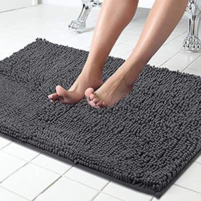 Amazon Com Itsoft Non Slip Shaggy Chenille Bath Mat For Bathroom Rug Water Absorbent Carpet 21 X 34 Inches Charcoal G Chenille Bath Mat Bathroom Rugs Bath Mat