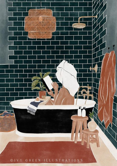 Water color painting woman, hygge gift, contemporary wall art, zen wall art, bathroom wall decor, woman illustration, funny bathroom signs | Ivy Green Illustrations Plakat Design, Woman Illustration, Contemporary Wall Art, Funny Bathroom, Bathroom Signs, Bathroom Wall Decor, Zen Bathroom, Simple Bathroom, Grafik Design