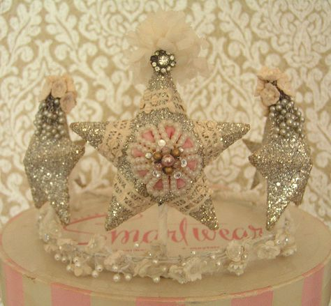 A Wendy Addison crown, embellished by andrea singerella