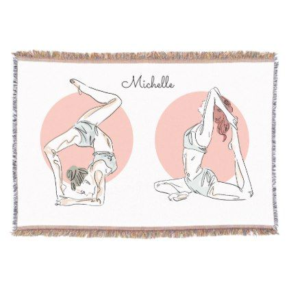 Yoga Poses Custom Name Throw Blanket Zazzle Com Yoga Poses Easy Yoga Poses Poses