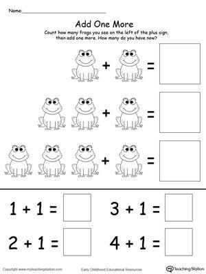 Add One More Frog Addition Kindergarten Math Worksheets Free Kindergarten Math Worksheets Kindergarten Addition Worksheets