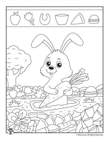 Rabbit Hidden Picture Puzzle Woo Jr Kids Activities Hidden Picture Puzzles Hidden Pictures Picture Puzzles Rabbit worksheets for kindergarten