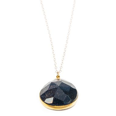 Midnight Goldstone by Friedasophie. After years and years of not wearing any at all, I'm suddenly drawn back to black, and this simple, faceted pendant can be layered with lots of other things in my jewellery box.