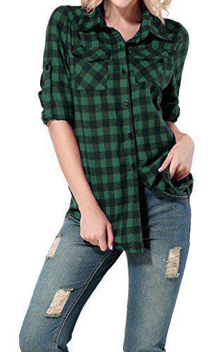 bluse schwarz grün kariert damen
